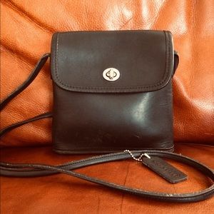 COACH Vintage Black Leather Crossbody Women's Bag